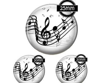 Set 25MM-20mm GLASS, 3 Glass Cabochons Ref 242 music