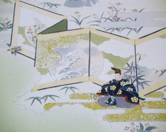 Rare Handpainted Noh Vintage Japanese chirimen silk kimono fabric