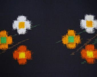 Floral Vintage Japanese kasuri wool kimono fabric