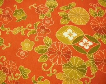 Red Hana Karakusa Vintage Japanese silk wool kimono fabric