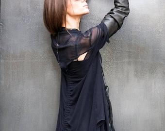 SALE Navy Chiffon Extravagant  Loose  Shirt/ Asymmetrical shirt/ Oversize Summer  Top A11116