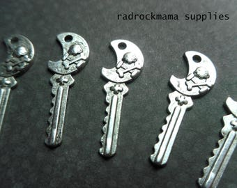 Antiqued Silver Skull and Crossbone Skeleton Key Charms Pendants 25x9mm     -A4A2-3