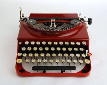 Red Typewriter Remington Portable 3