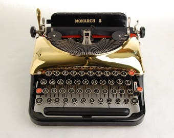 Gold Typewriter, Remington Rand 5 Streamline 1930s