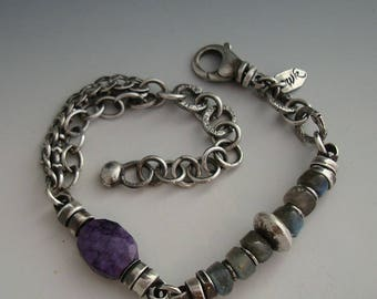 Labradorite Bracelet, Handmade Bracelet, Rustic Bracelet, Silver Bracelet, Antiqued Bracelet, Chain Bracelet