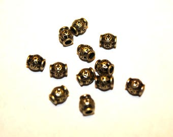 15 Antique Bronze Barrel Shaped Spacer Beads