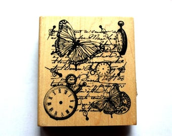 Large Butterfly and Clock Rubber Stamp 3 1/2 inches x 4 inches  - Never Been Used!