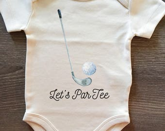 Let's ParTee, Golf, Baby, Boy, Girl, Unisex, Infant, Toddler, Newborn, Organic, Bodysuit, Outfit, One Piece, Clothes, Layette, Creeper