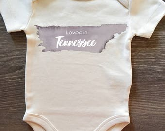 Loved in Tennessee, Baby, Boy, Girl, Unisex, Infant, Toddler, Newborn, Organic, Bodysuit, Outfit, One Piece, Clothes, Layette, Creeper