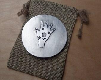 Purse mirror - hand - cast pewter