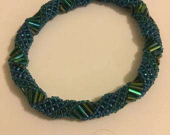 Blue Green Russian Spiral Bracelet