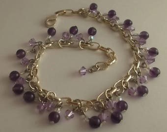 Amethyst and lilac crystals means anklet.