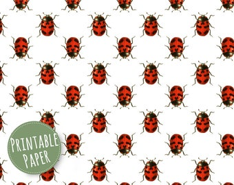 Digital Paper - Printable Gift Wrapping Paper - Wrapping Paper - Vintage Ladybugs - Cute