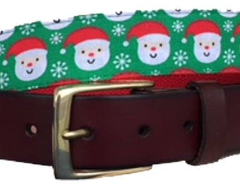 Santa Head Leather Belt /Ugly Christmas Sweater Belt/Leather Belt /Canvas Belt /Preppy Belt for Men/Santa Head Leather Belt