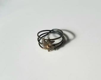 Unique delicate tripple band star ring, sterling silver with 14k gold accent, size 7