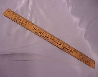 15in Wood Ruler Advertising Excelsior Steel Furnace Co. Chicago