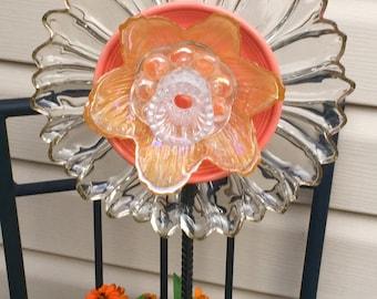 Vintage Glass Garden Flower-Sunflower-Fleamarket Gardening