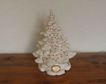 """Vintage White Ceramic Lighted Christmas Tree 2 Piece White with Gold 16"""""""