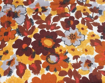 Vintage Retro Brown Yellow Orange Flower Curtain Fabric, 1970s 70s Mod Linen Flower Drapery Fabric Almost 3 1/2 yards