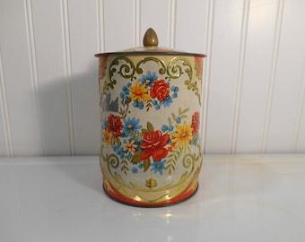 Vintage Murray Allen Regal Crown printed floral English tea tin, Biscuit storage, Kitschy kitchen, Staging, Photo shoots, Props