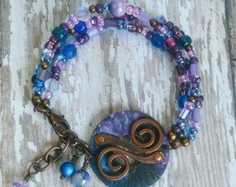 Blue & Purple Copper Patina Bracelet Bar Multistrand Beaded Circle Round Swirl Jewelry Gypsy Boho Birthday Gifts for Her BJGB85