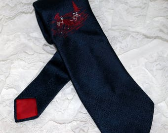 1970s Suitmates by Wembley Men's Tie  - Christmas Tie - Navy Blue with Red/White Sleigh Ride  - Wide Width