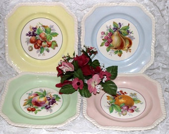"Johnson Brothers - Old English  - Luncheon Plates - ""California"" - Transferware - Set of 4 - Pastel Colors"