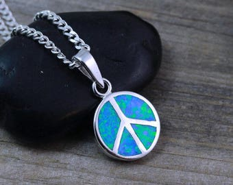 Sterling silver Peace Sign Necklace, Peace Necklace, Silver Opal Peace sign Necklace. Choose your chain, Peace sign Jewelry.