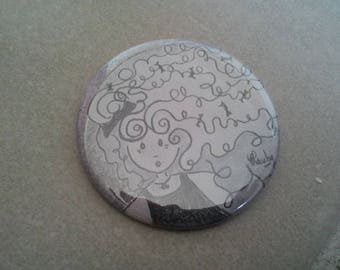 Pocket mirror little girl black and white collection 27