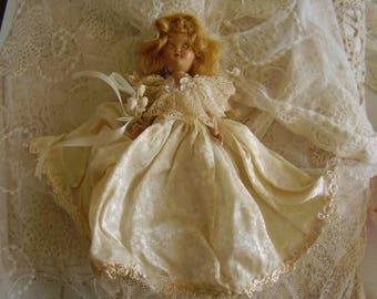 "Vintage Celluloid 8"""" Bride Doll"