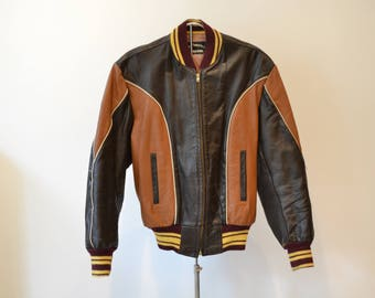 1950s Sportsmaster Two-Tone Horsehide Leather Jacket. Brown with piping, size medium.