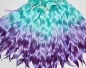 Angora Mohair locks ~  Aqua Blue with Purple tips ~ doll hair weft reroot bjd wig blythe pullip minifee littlefee pukifee lati