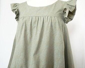 Size 36 / Sarah cotton Poplin blouse floral blue/khaki