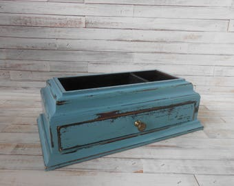 Teal Dresser Valet-Teal Jewelry Box - Painted and Distressed Teal Jewelry Box-Jewelry Chest-Jewelry Storage- Wood Teal Jewelry Box