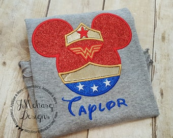 Wonder Woman Mouse Custom embroidered Disney Inspired Vacation Shirts for the Family! 3d