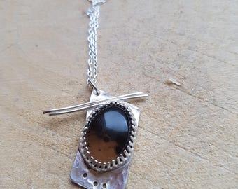 Smokey Quartz Pendant Necklace Handmade Quartz Silver Pendant