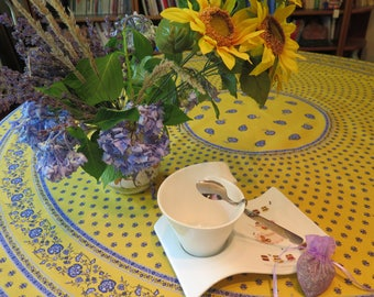"70"" diameter Round tablecloth.CHOOSE the Fabric from Provence, France.Cotton or oilcloth!Paisley in yellow"
