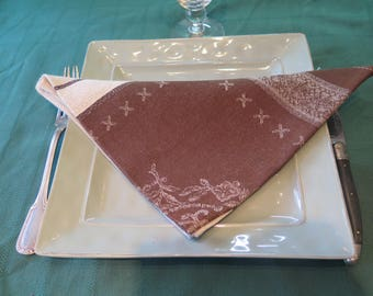 Cotton napkins, cloth napkins. Jacquard cotton napkin. Set of 1-2-4-6-8-10-12 napkins.  gifts. Fabric from Provence, France.
