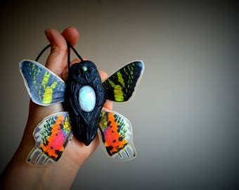 Owl,Owl necklace,Owl spirit animal,Owl totem,Mythical Moon OwlSpirit,Moonstone necklace,gemstone necklace,unique gift,tarot