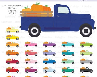 Vintage Truck with Pumpkins Clipart, PNG Digital Clipart - Instant download