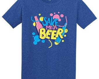Save Me A Beer T-Shirt- Heather Royal