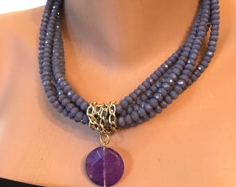 Purple Crystal Pendant Necklace, Purple Beaded Crystal Necklaces, Twisted Crystal Gold Jewelry, Valentines Gifts, Best Gift Ideas, Gifts