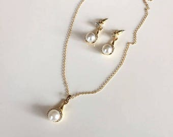 Gold Plated Pearl Set, Pearl Necklace Earrings, Gold Rhinestone Pearl Pendant , Bridesmaid Jewelry Set, Gifts for Her, Valentines Day Gift