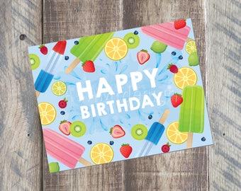 Happy Birthday Card - Summer Birthday Card - 4.25 x 5.5 card - Printable PDF