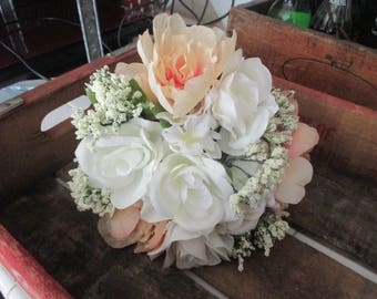Wedding Brides Bouquet * Rustic *Burlap