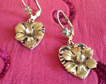 Hearts and Flowers earrings.Wedding Bohemian Gypsy Bridesmaid romantic