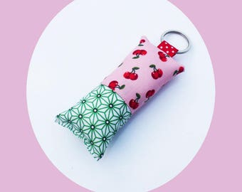 Fabric pattern pink and Red cherries and green stars asanohas keychain