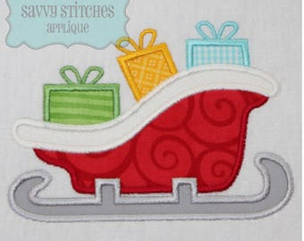 Santa Sleigh Machine Embroidery Applique Design