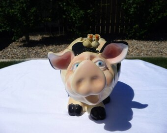Pig Piggy Bank Spotted With Birds On His Head, Black Spots and Hooves