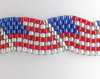 American Flag, red, white and blue beaded bracelet.  All beads are high quality Miyuki seed beads. Custom made when ordered